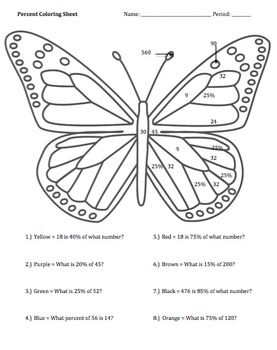 Percent Worksheets Bundle Butterfly Coloring Page Butterfly