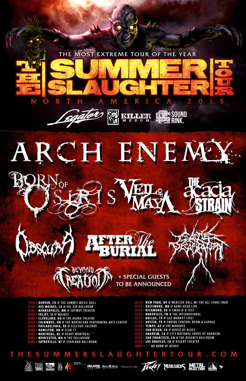 Arch Enemy Adds Dates To The Summer Slaughter Tour Digital Tour Bus Arch Enemy American Tours Star Tours