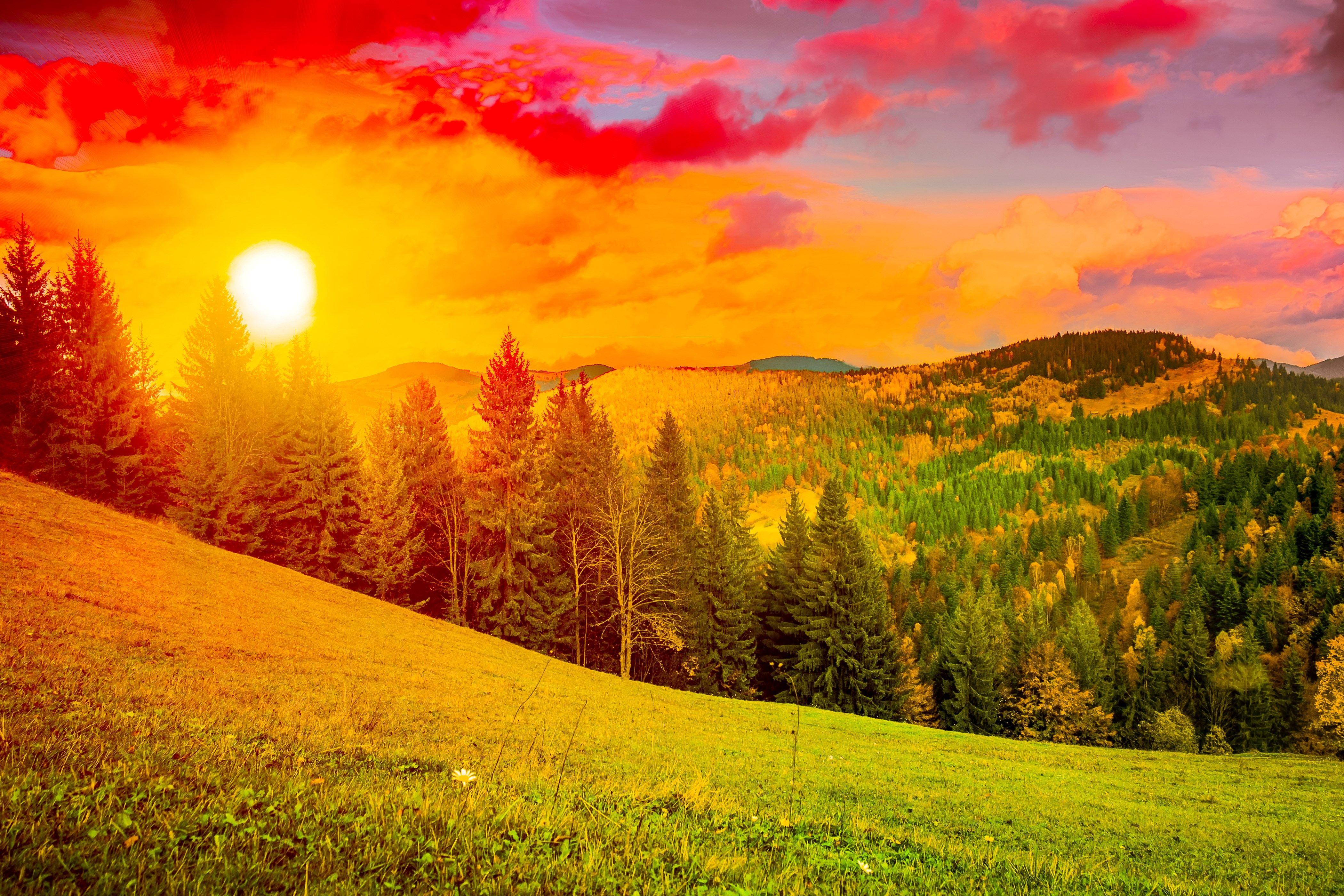 Colorful Sunrise Mountain Landscape HD Wide Wallpaper For Widescreen