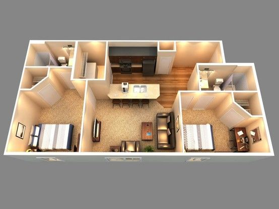 This Is A 3d Floor Plan Of Our 2 Bedroom 2 Bath Sims House Design House Design House Plans