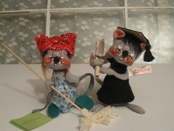Annalee Dolls Mouse Housewife and Graduate by PastPerfectTreasures ...