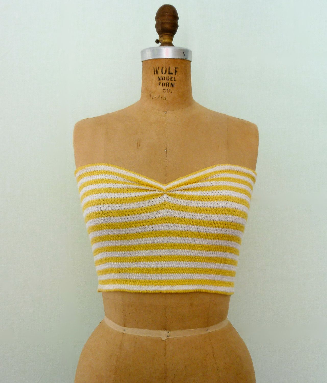 1a8a3636a9b0 70s Yellow Striped Tube Top. My friend Karen and I had at least 20 of these  between us, we were always borrowing each others clothes. Good times!