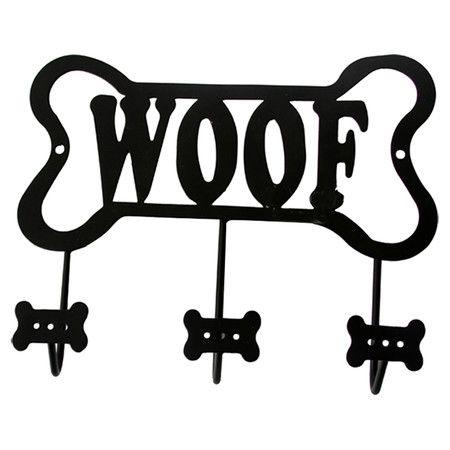 Lucky Dog Bone Shaped Woof Leash Wall Hook Rack