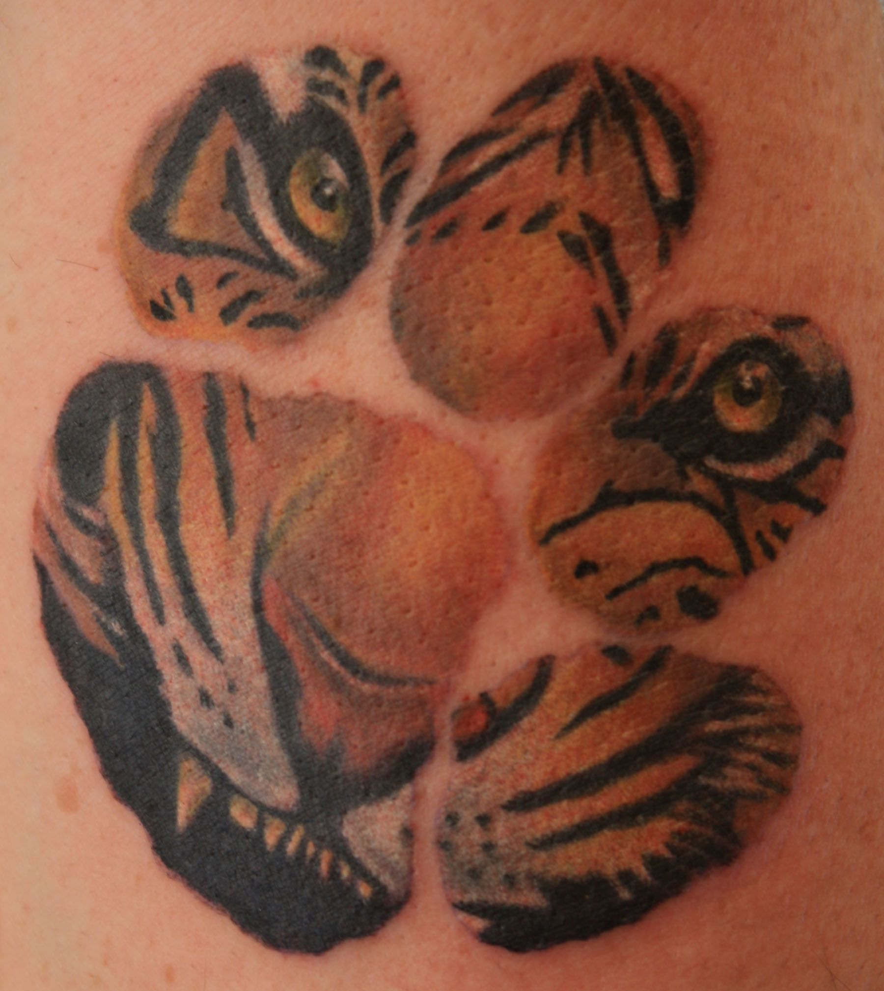 love that the paw print isn t completely colored in description rh pinterest com tiger paw tattoos on breast tiger paw print tattoos