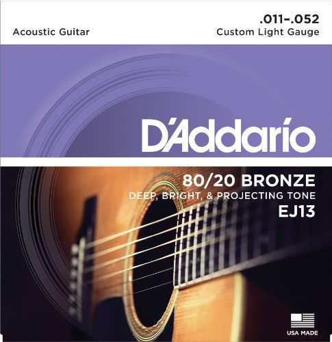 Daddario Ej13 8020 Bronze Acoustic Guitar Strings Custom Light 1152 Check Out The Image By Visiting The Li Acoustic Guitar Strings D Addario Acoustic Guitar