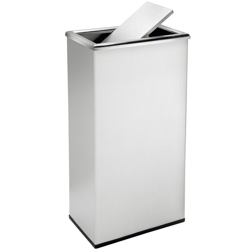 Commercial Zone 780829 Precision 13 5 Gallon Stainless Steel Trash Receptacle And Rectangular Swivel Lid Set In 2021 Trash Can Trash Cans Amazing Bathrooms 13 gallon trash can dimensions