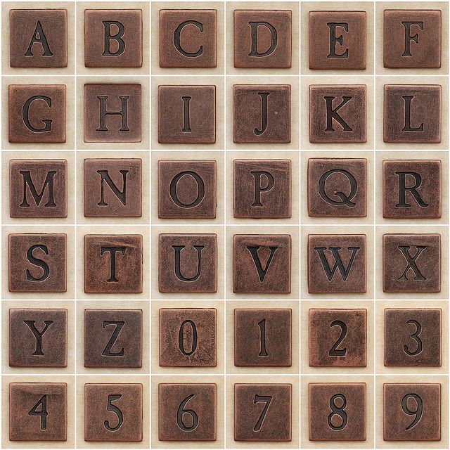 Copper Square Uppercase Letters And Numbers Copper Square Letters And Numbers Lower Case Letters
