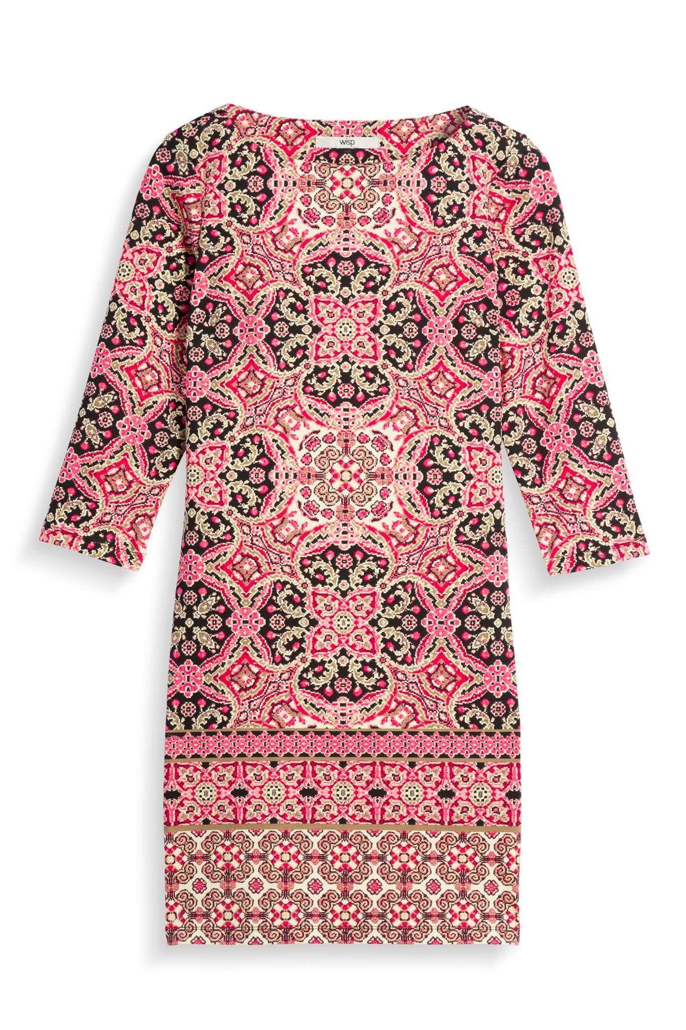 Wisp mandala pattern sheath dress, 3/4 sleeve, black gold pink multi ...