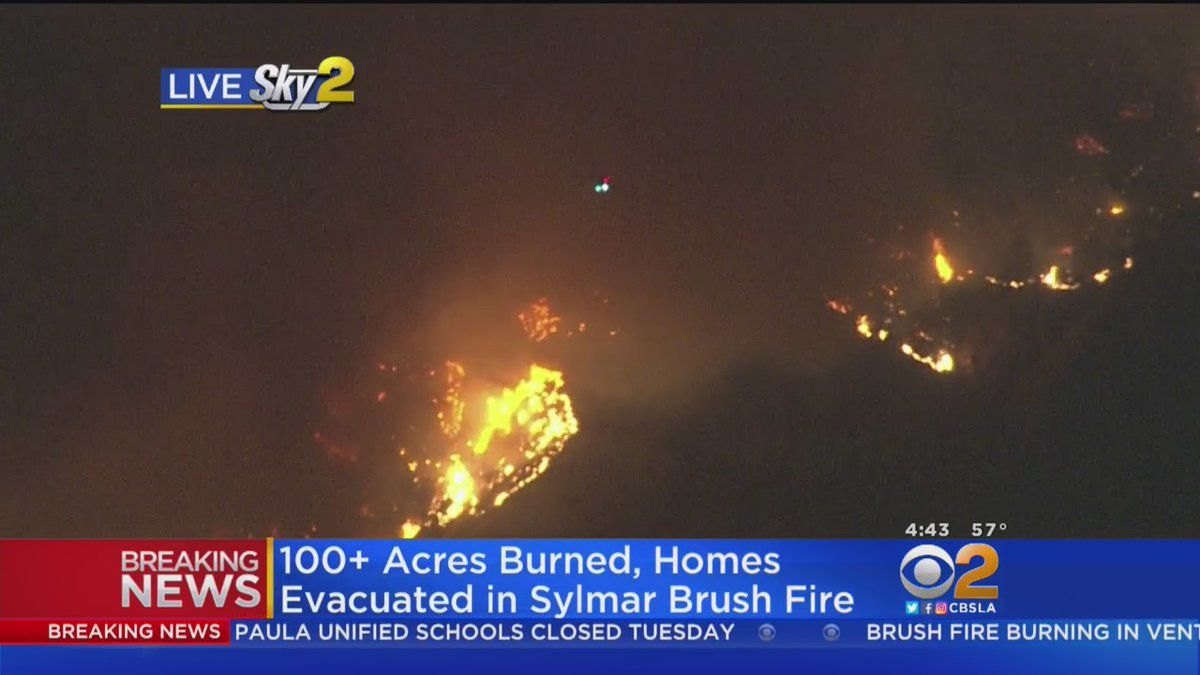 Fast Moving Brush Fire Burning In Angeles National Forest Above Sylmar Burns 100 Acres And Threatens Several Homes And Structures I Brush Fire Sylmar National