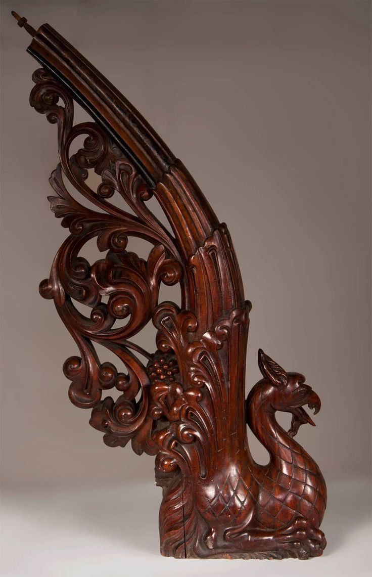 Antique Stair Banister Made Out Of Mahogany Wood With Carved Griffin | From  A Unique Collection Of Antique And Modern Architectural Elements At ...