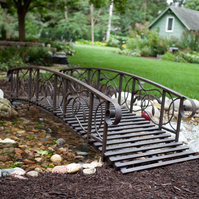 8-Ft Metal Garden Bridge in Weathered Black Finish - 750-lb Weight Capacity-Outdoor > Garden Bridges-Loluxe