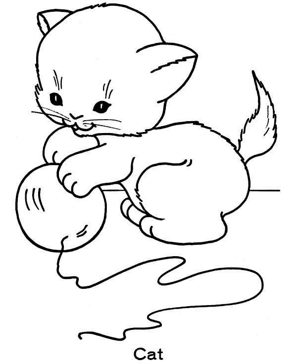 Little Cat Play With Ball Of Yarn Coloring Page Coloring Sun Cat Coloring Page Kittens Coloring Valentines Day Coloring Page