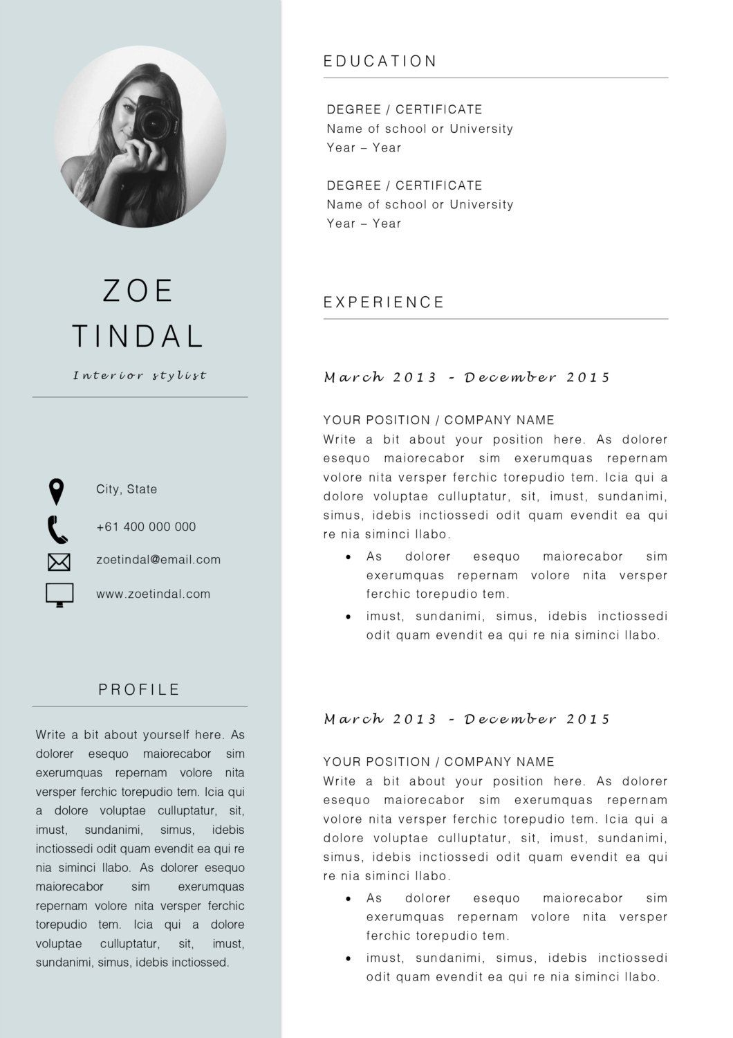 Resume and Cover letter template Professional Microsoft