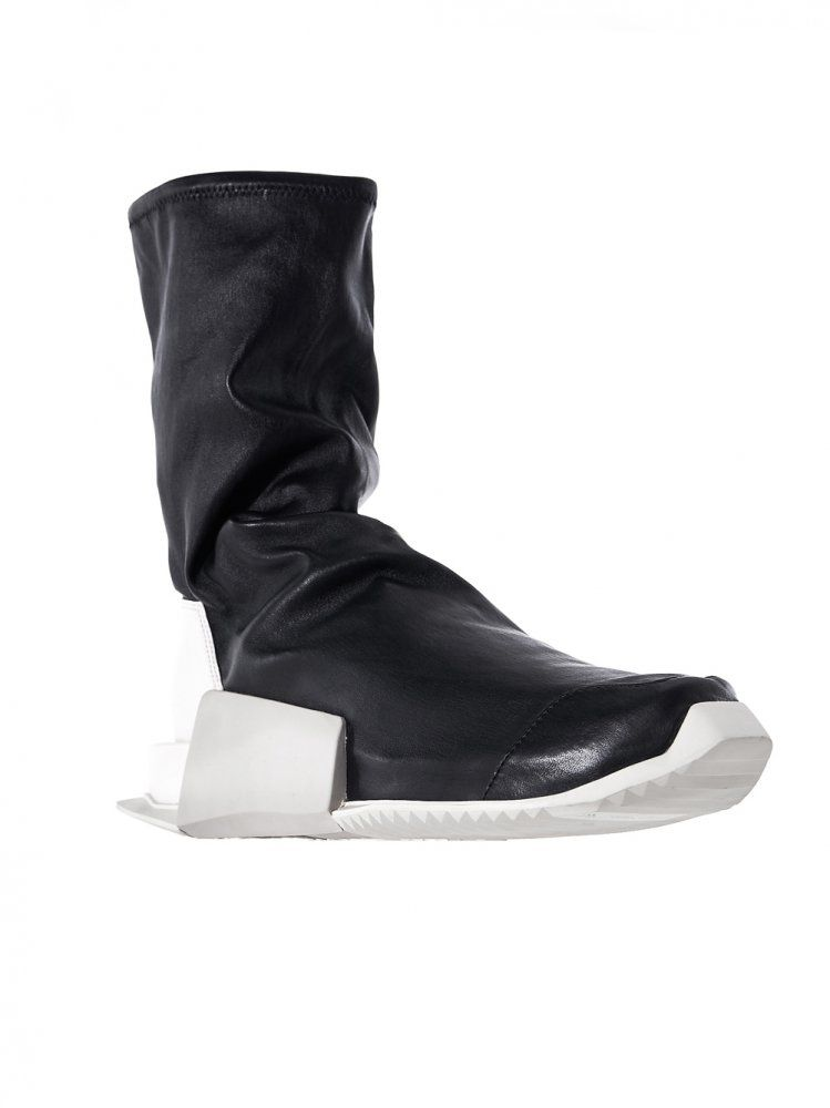 RICK OWENS - Laceless Mid-Calf Leather Trainers - BY2932 BLACK/MILK/DINGE - H. Lorenzo