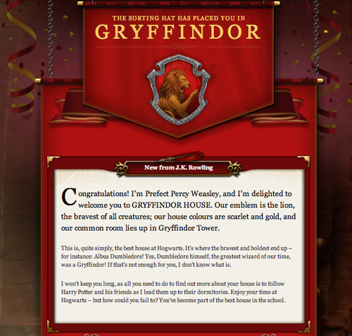 what house are you in pottermore
