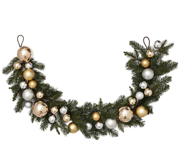 Ornament Pine Wreath Amp Garland Gold Amp Silver Outdoor