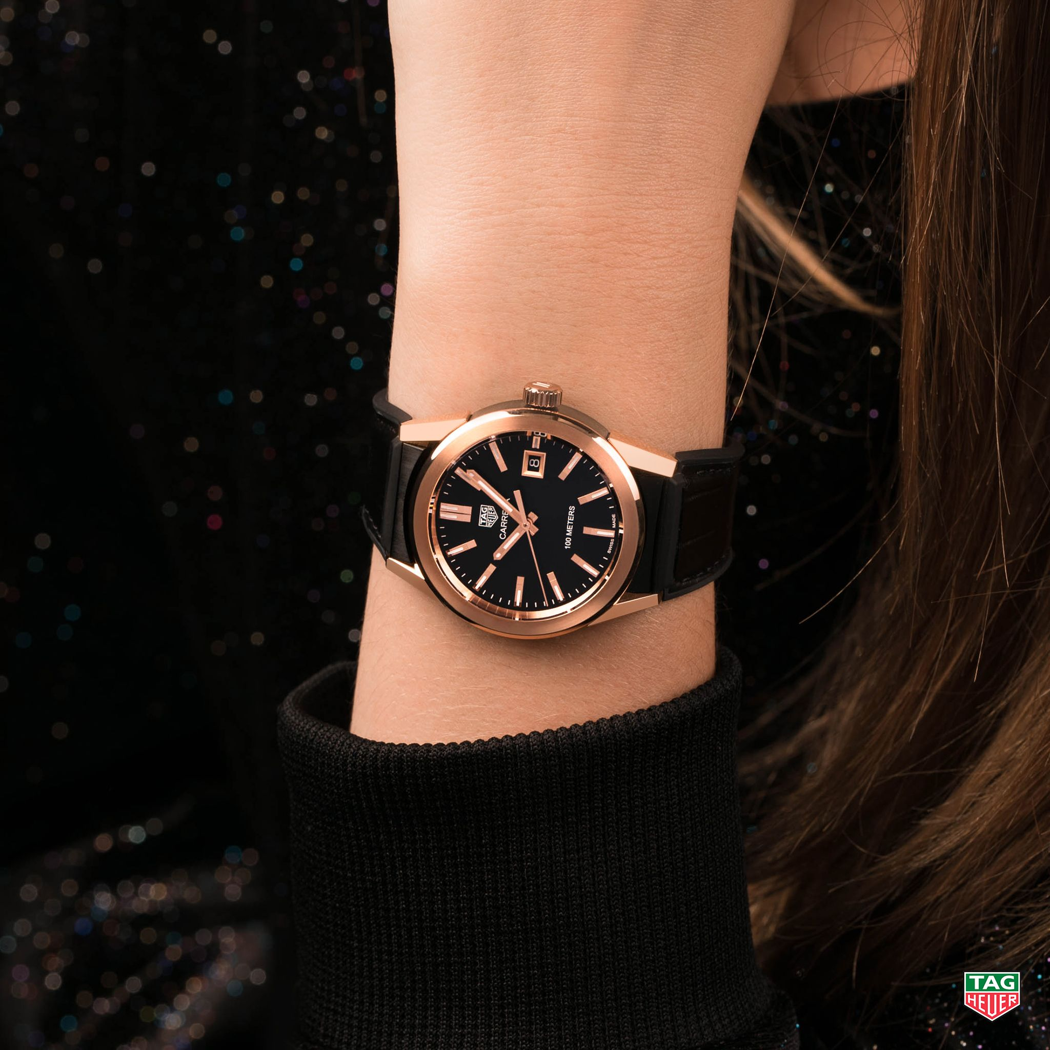 Confidence Comes In Black With A Hint Of Rose Gold The Tag Heuer Carrera Lady Dontcrackunderpressure Tagheuer Tag Heuer Tag Heuer Automatic Tag Heuer Watch