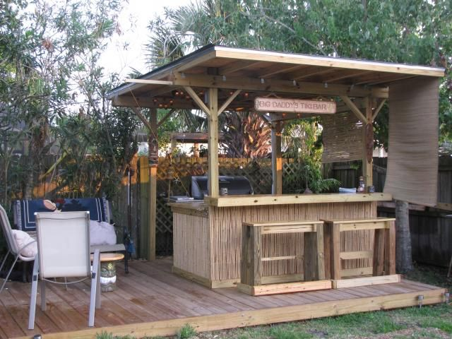Tiki bar tiki bars pinterest tiki bars bar and backyard for Wood outdoor bar ideas