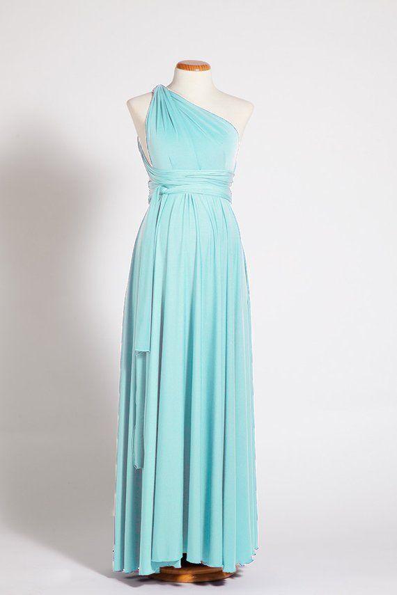 8714c0af82dc Baby shower maternity infinity dresses, one shoulder aquamarine maxi dress,  light blue dresses, mate