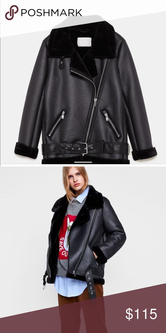 e0bc6e5f7 Zara Shearling Biker Jacket Zara Shearling Biker Jacket Size XS NEW ...