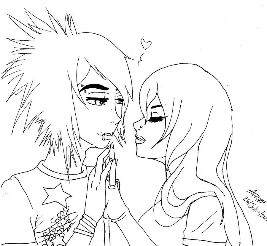 Cute Emo Anime Coloring Pages Coloringplay Cute Emo Couples Love Coloring Pages Coloring Pages