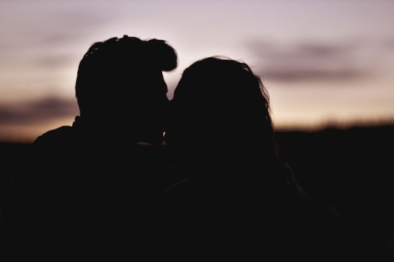 Sunset, Evening, Sun, Shadows, Silhouettes, Kiss, Couple, Love
