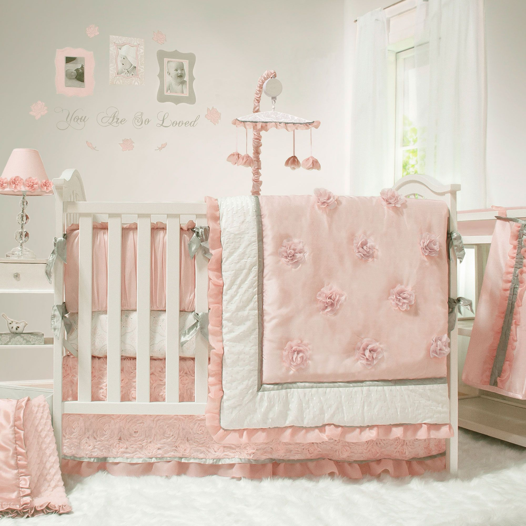 nursery product girls category set crib blooms vintage for romantic bedding custom lottiedababy girl img baby floral cribs