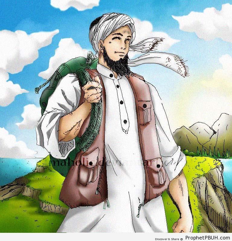 Muslim Traveler (Bearded Muslim Man Drawing) Drawings