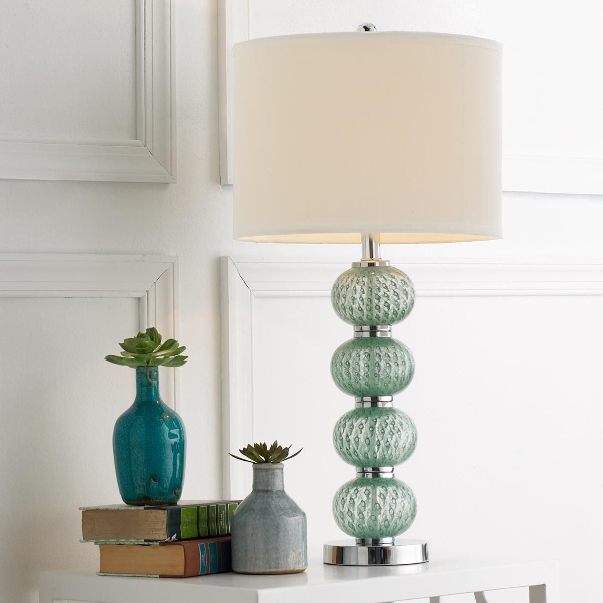Peacock Aqua Glass Ball Table Lamp Four Soft Balls Are Stacked On A Shiny