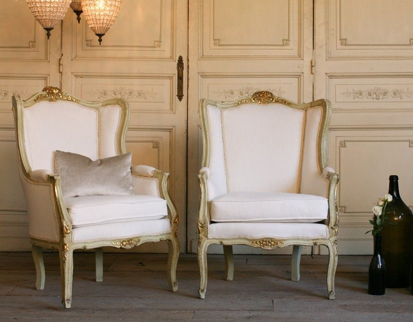 One Of A Kind Vintage French Style Louis XV Wing Back Bergeres Pair Shabby