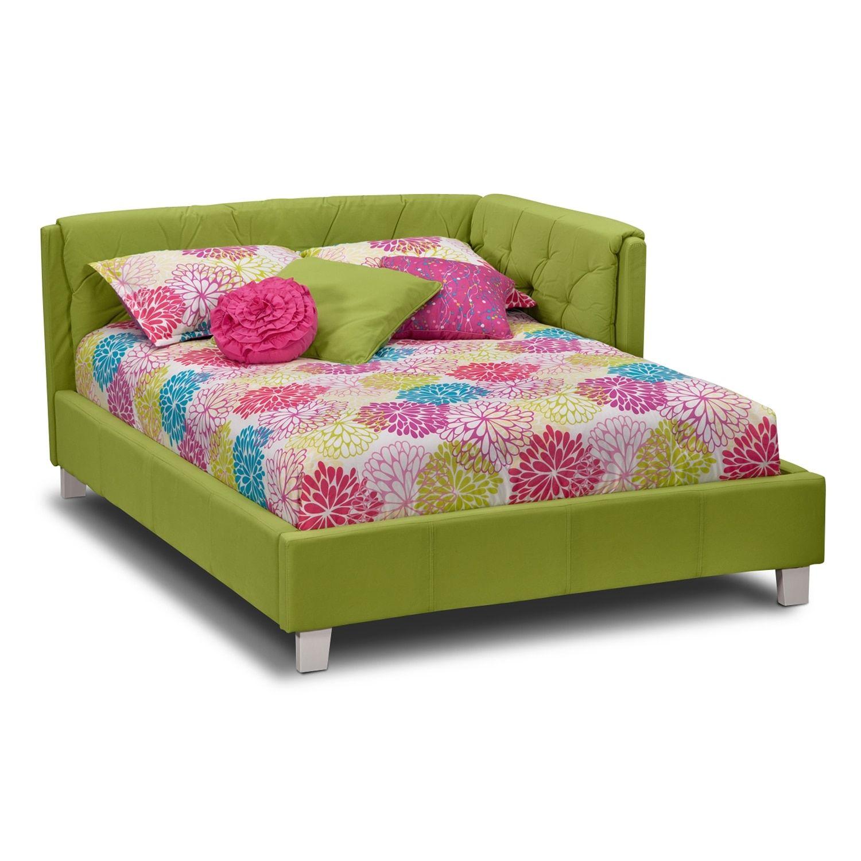 Jordan Full Corner Bed Green Bed in corner, Corner bed