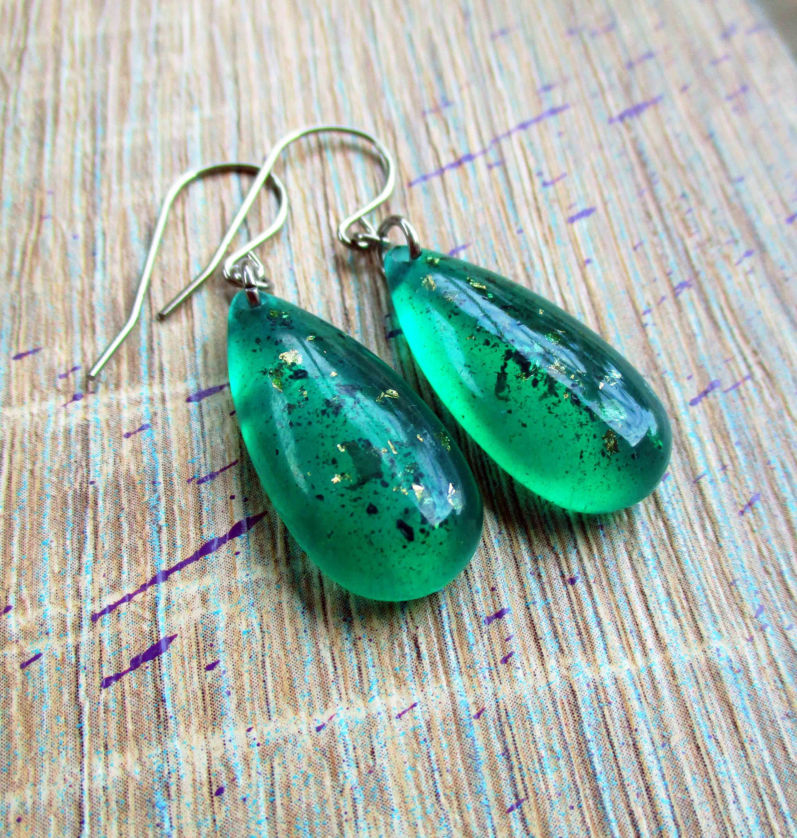 Thea Maris Carmody - Eco resin emerald drop earrings on hypoallergenic surgical stainless steel ear wires $26