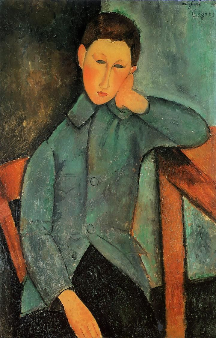 Amedeo Modigliani. El chico, 1918. Óleo sobre lienzo. Indianapolis Museum of Art, Indianapolis. WikiPaintings.org - the encyclopedia of painting