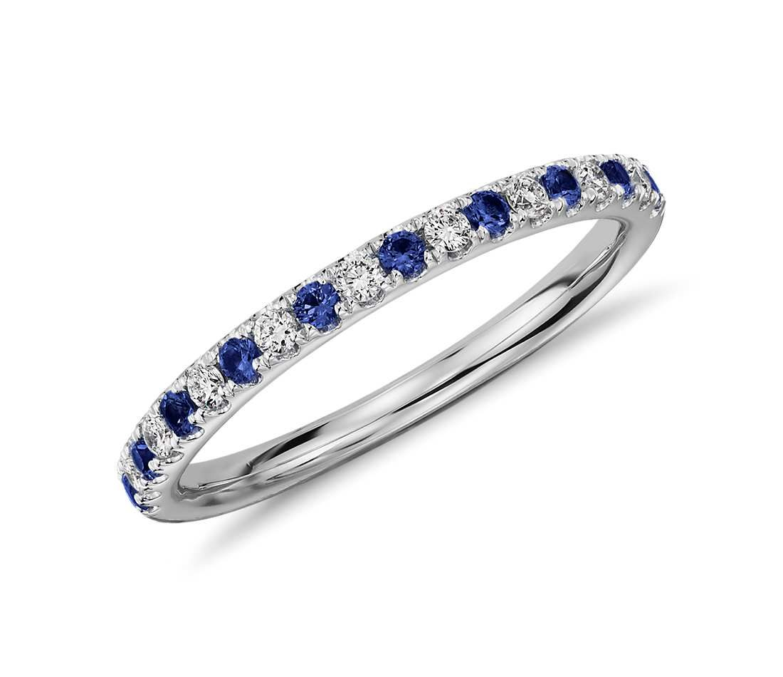 delicate and brilliant this platinum ring features alternating pav set diamonds and sapphires for a - Sapphire Wedding Rings