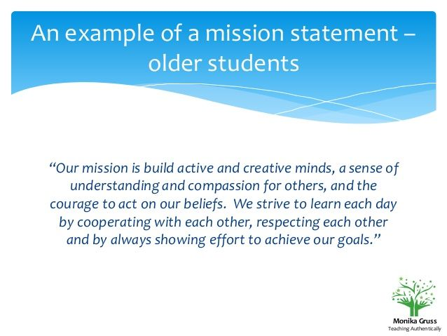 An Example Of A Mission Statement  Older Students Our Mission Is