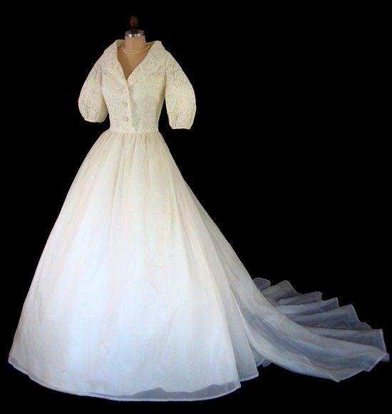 8da8b9539c1 Vintage 1950 s 50 s 60 s Priscilla of Boston Silk Organza and Alencon Lace Wedding  Dress