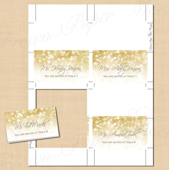 White Gold Sparkles Editable Place Card Tent By Brownpapermoon Free Place Card Template Place Card Template Wedding Place Card Templates