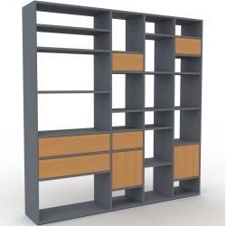 Photo of Wohnwand Anthrazit – Individuelle Designer-Regalwand: Schubladen in Eiche & Türen in Eiche – Hochwer