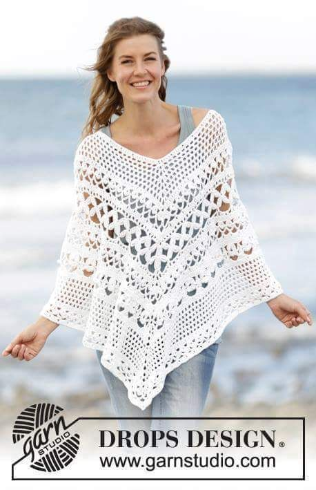 Cinco Belíssimos modelos de poncho em crochê, Maravilhosos.. | Colar ...