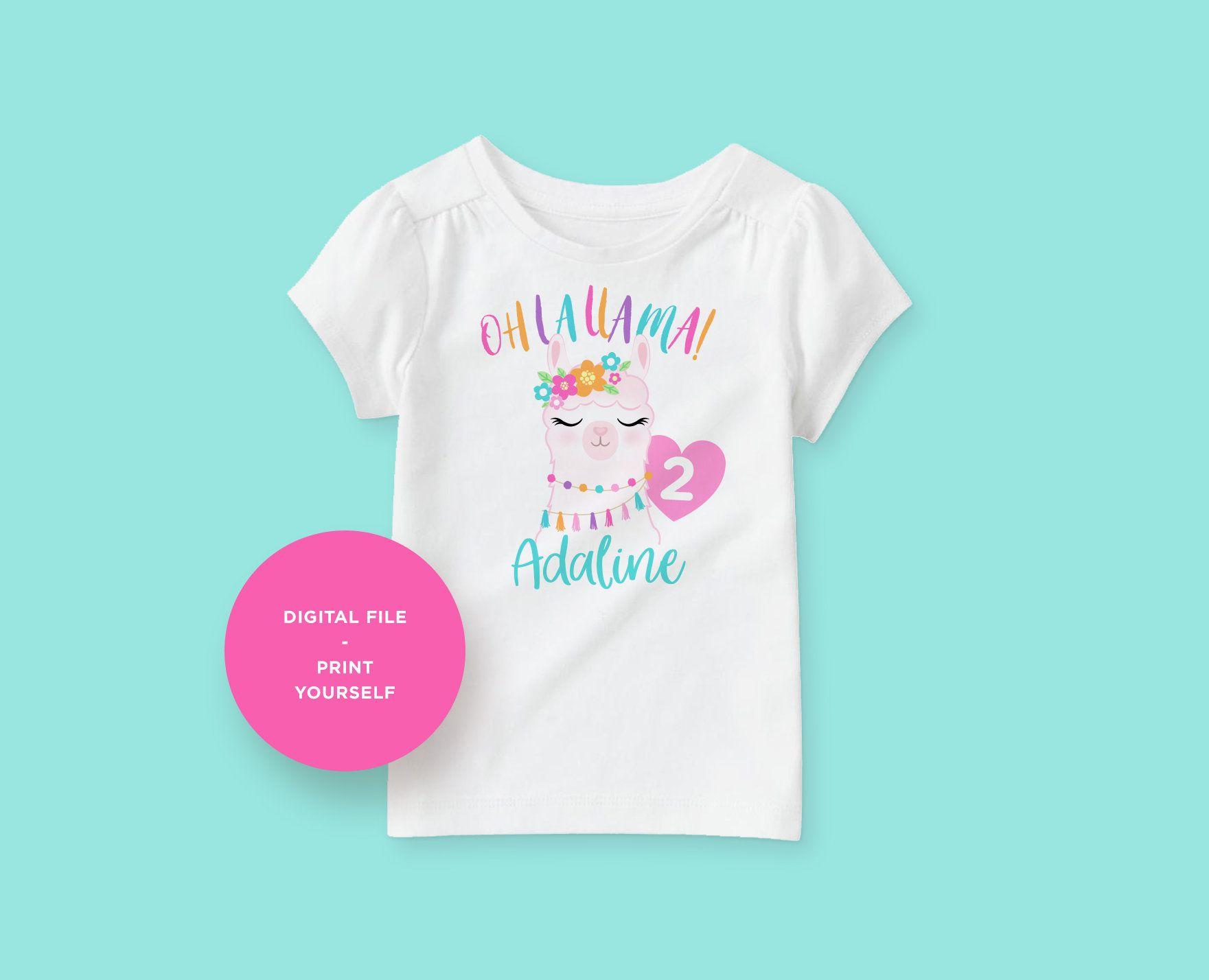 Boho Birthday Girl Birthday Outfit Llama Birthday Party Custom 1st 2nd 3rd Any Age Llama Birthday Shirt