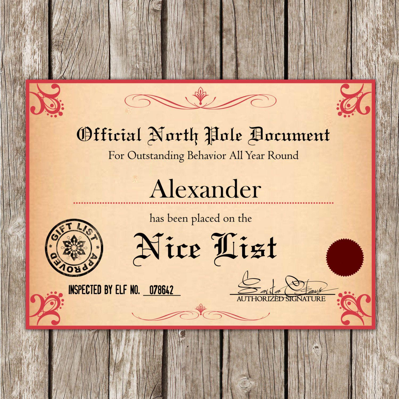 santa u0026 39 s nice list certificate from the north pole - editable pdf