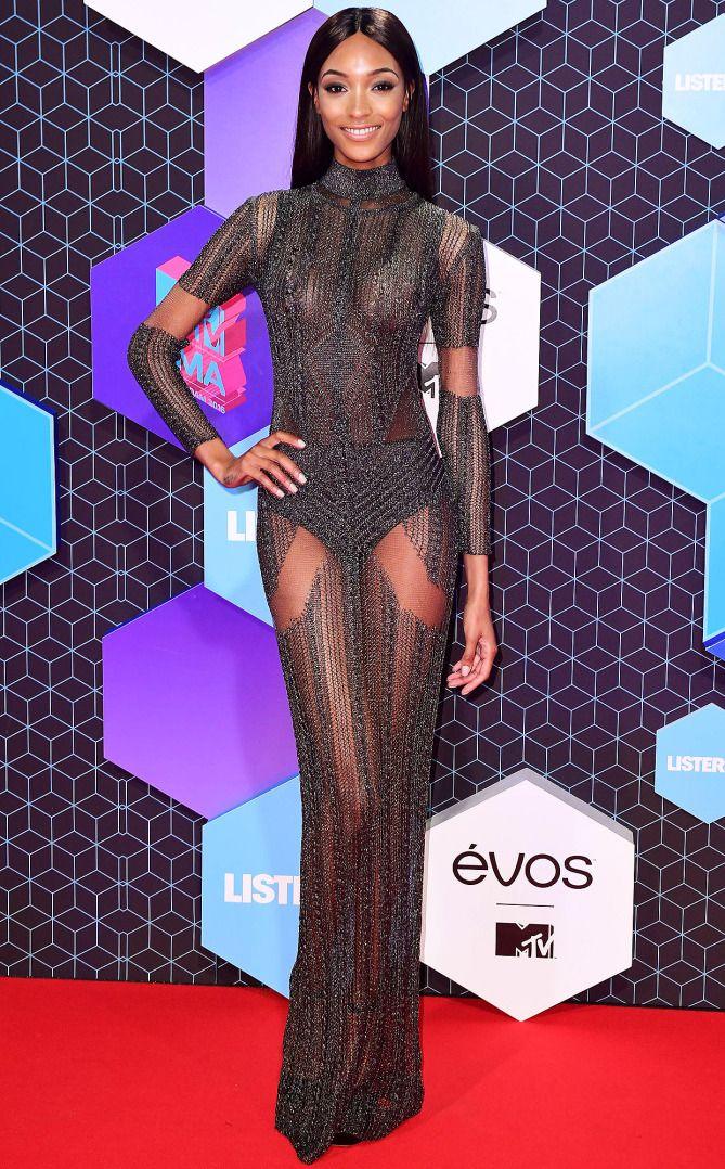 Jourdan Dunn in a sheer black dress at the MTV EMAs