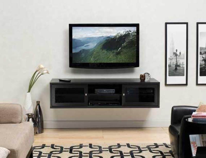 Euro Style Flat Panel Tv Install With Wall Mounted Cabinet Home