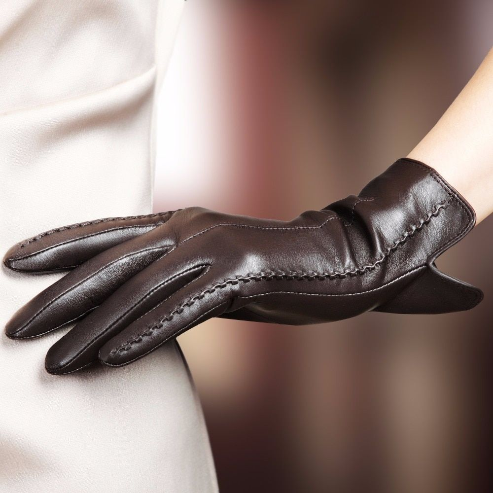 Genuine Leather Winter Gloves Fashion Wrist Lace Bow Solid For Women Thermal New