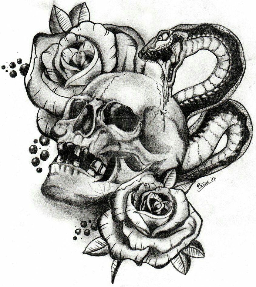 skull snake roses tattoo tattoos body art inspiration arrows skulls snakes guns. Black Bedroom Furniture Sets. Home Design Ideas