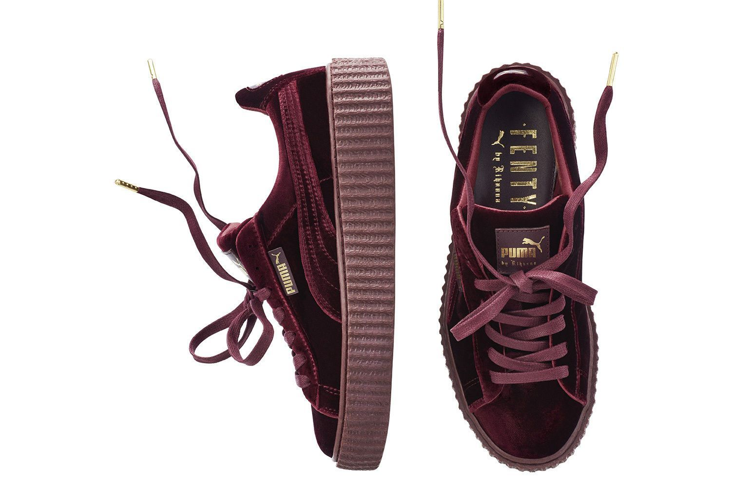 Puma X Rihanna Fenty Suede Creeper Red Velvet Women Sizes