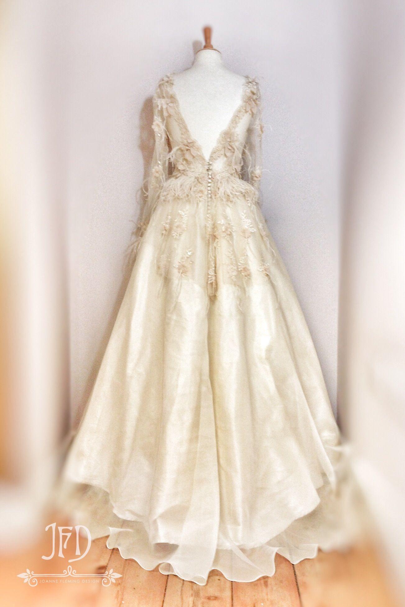 Antique cream wedding dress  Joanne Fleming Design sample Sale A statement full length wedding