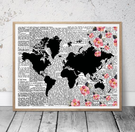 Floral world map printable world map world map wall by msdesignart floral world map printable world map world map wall art world decor world map poster travel art print digital world map watercolor world map sciox Gallery