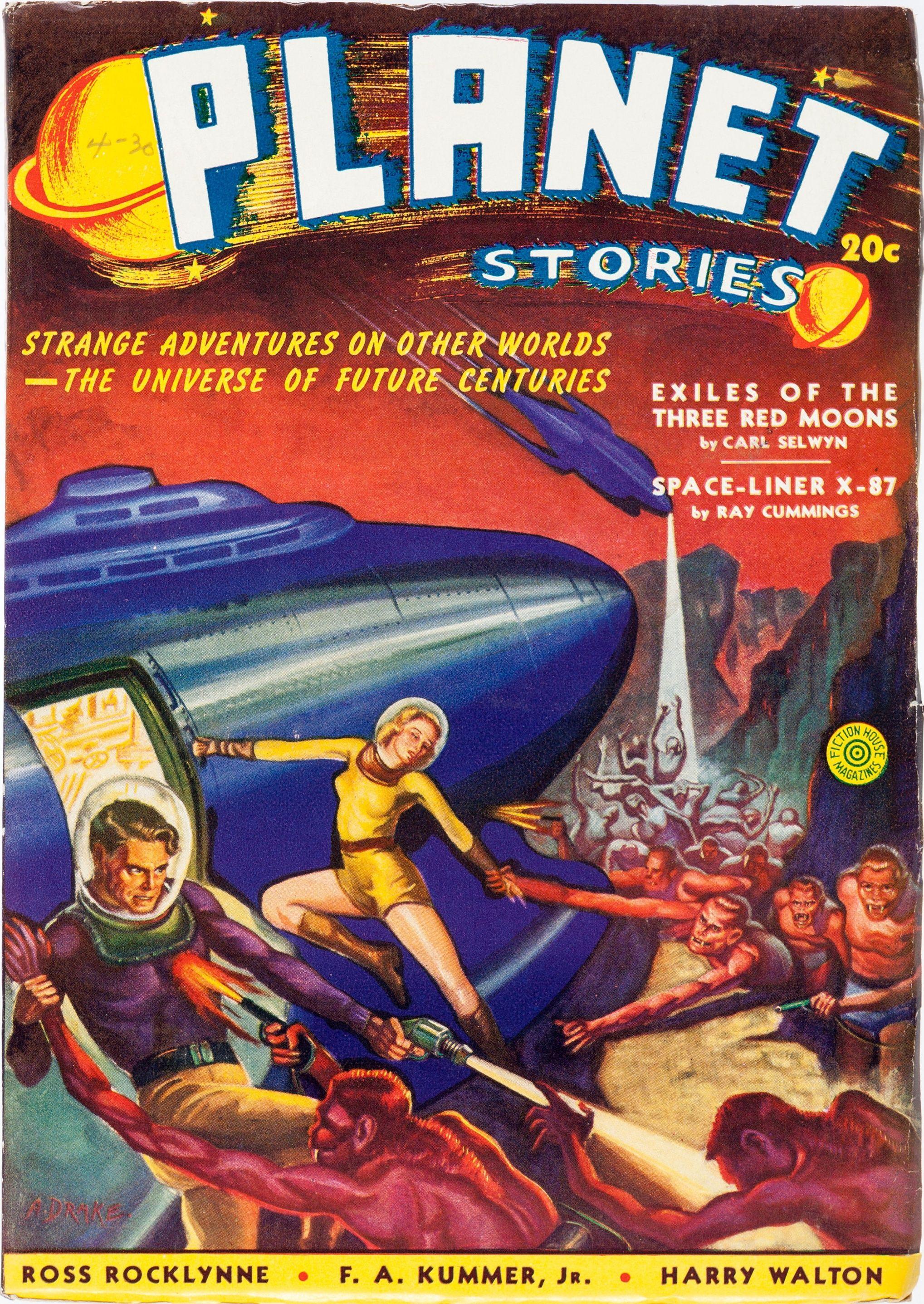 Albert Drake Exiles of the Three Red Moons Planet Stories, Vol. 1 nº 3; Summer 1940.  #AlbertDrake #PulpArt #PlanetStories #SciFi