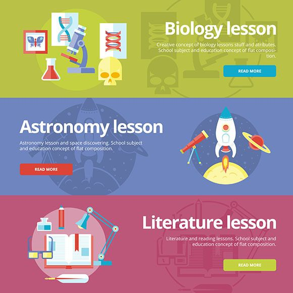 Flat School And Education Banners Education Banner Education Biology Lessons
